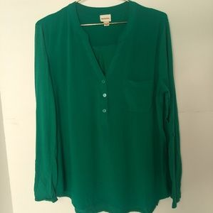 Merona Women's Large Long Sleeve Green Blouse